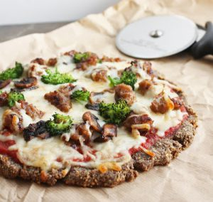 from I Breathe, I'm Hungry | Flax Pizza with broccoli and sausage